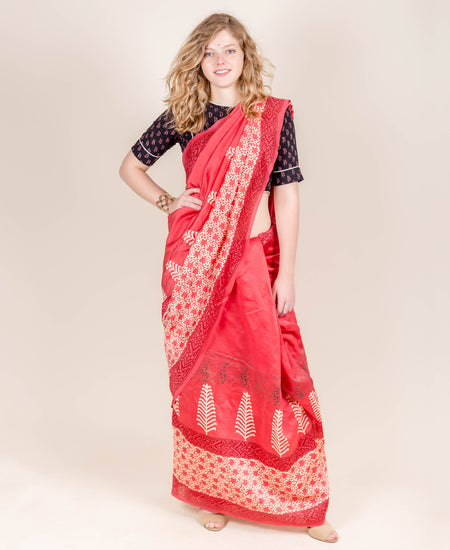 Burgundy and Ivory Tussar Silk Hand Block Printed Saree