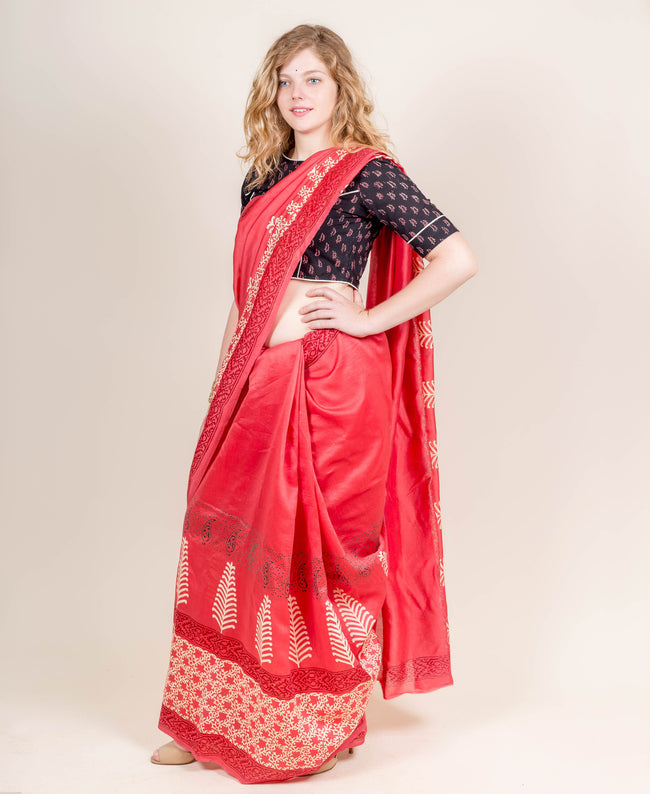 Red and Ivory Chanderi Hand Block Printed Saree