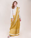 Mustard & White Chanderi Silk Saree