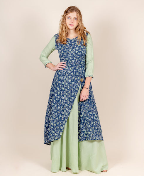 Scoop Neck Tulip Style Floor Length Indo Western Dress