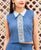 Solid Blue Crop Top with Border Printed Front for women online shopping