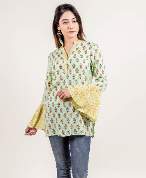 Doubly Delightful Bell Sleeved Short Kurti  In Lime And Yellow