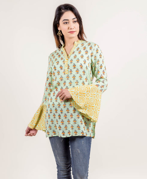 Doubly Delightful Bell Sleeved Top In Lime And Yellow