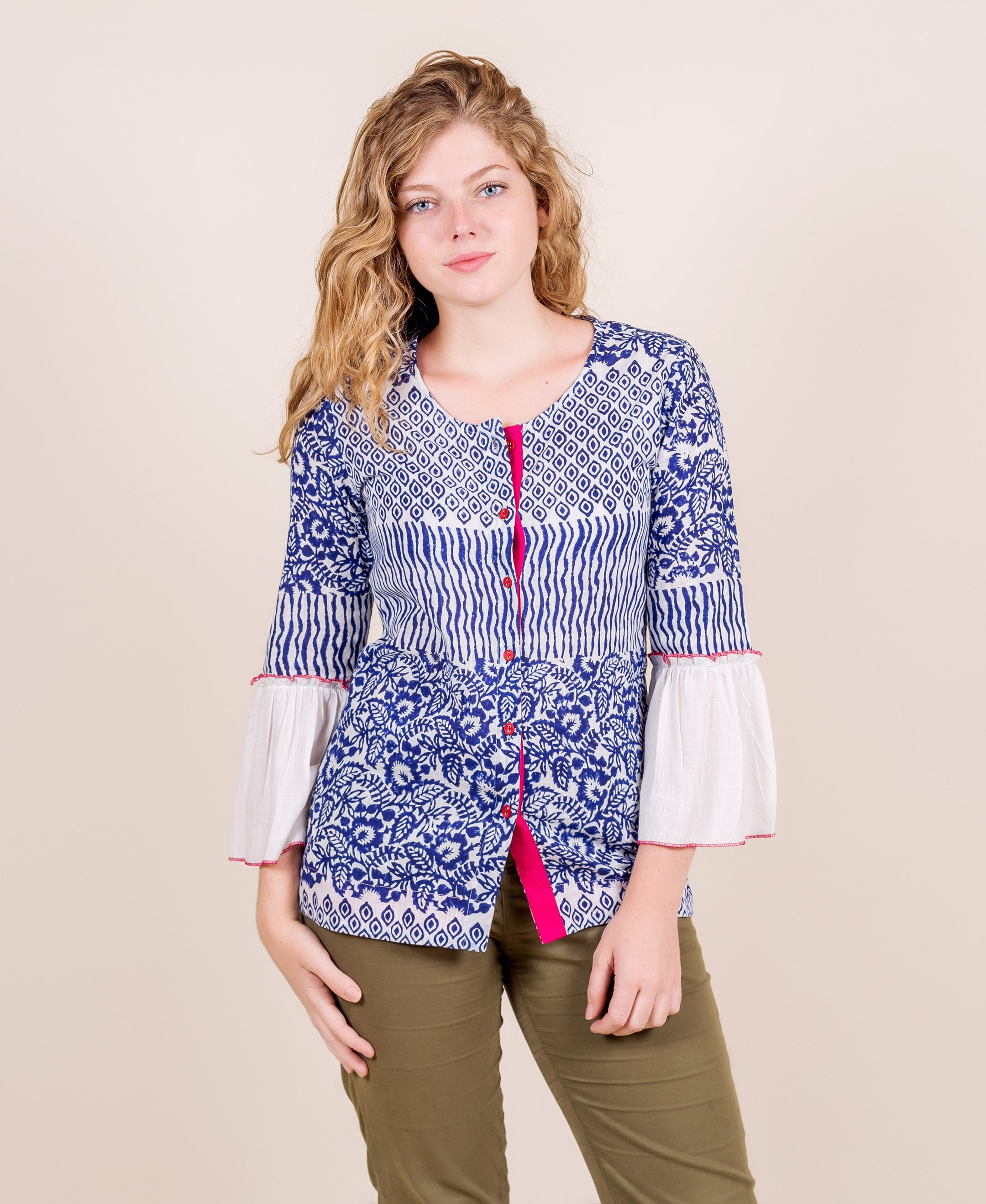 Blue and White Hand Block Printed Top