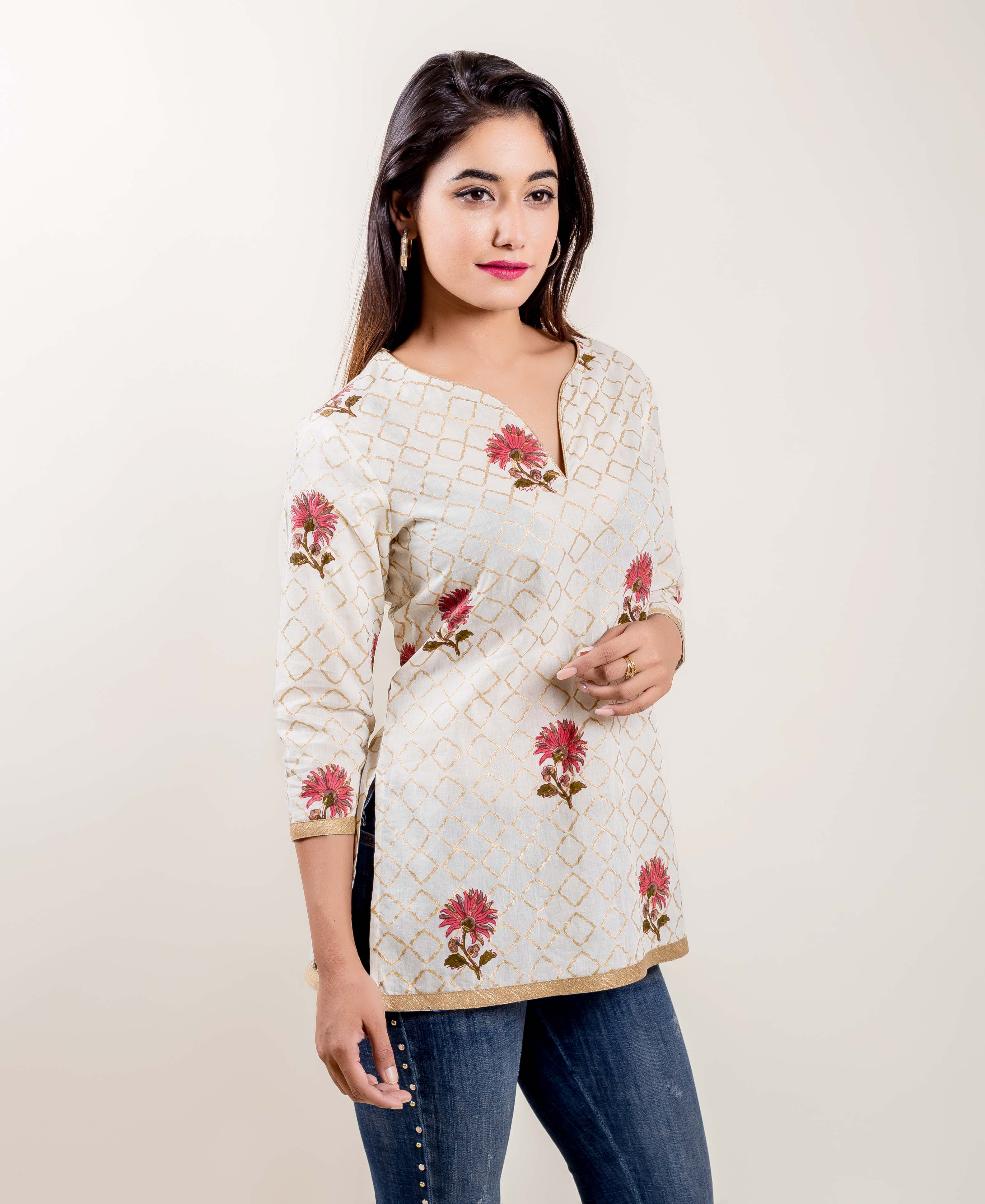 Fancy Floral Printed Ivory Cotton Top