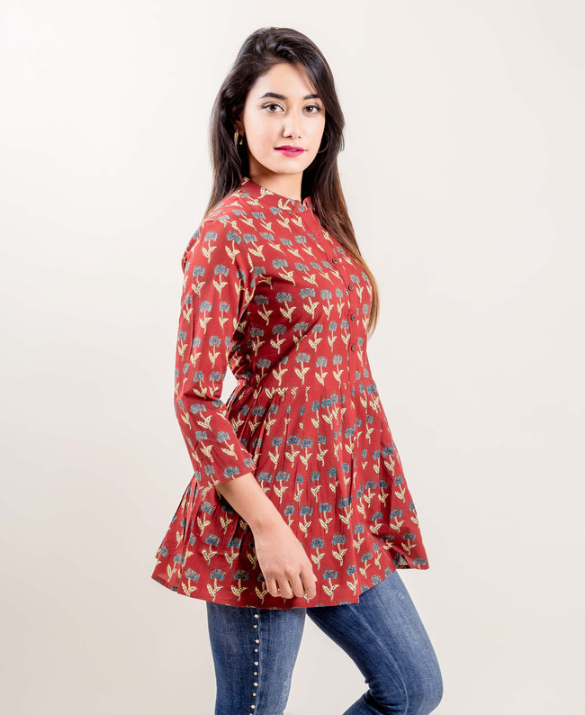 Rust Printed Pleated Cotton Top
