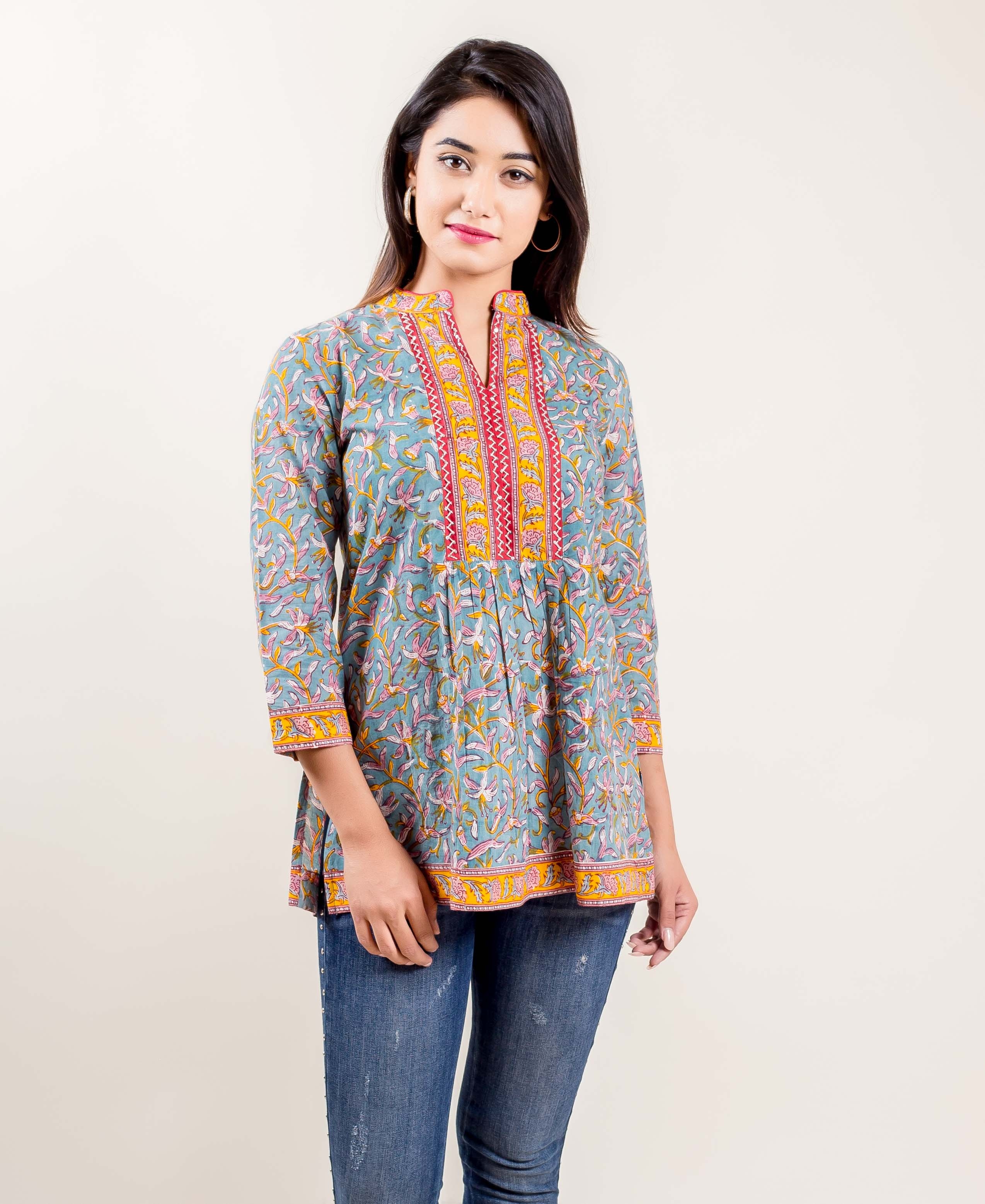 Hand Block Gathered Short Cotton Kurti Embellished With Embroidery