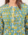 Green and Yellow Hand Block Printed Cotton Top with Pintuck