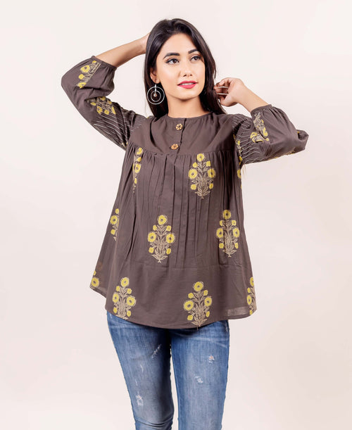 Brown Hand Block Printed Cotton Top with Stitch details