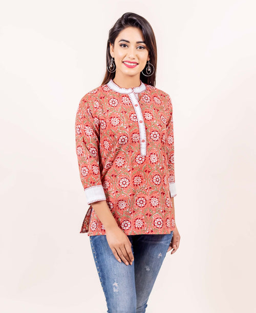 Peach and Red Hand Block Printed Embroided Cotton Top