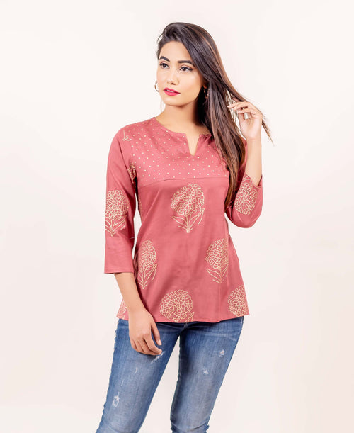 Rust Hand Block Printed Straight Fit Top