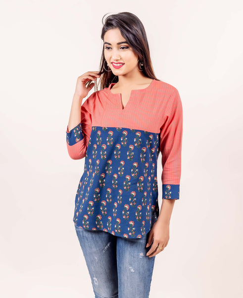 Indigo and Peach Hand Block Printed Cotton Top