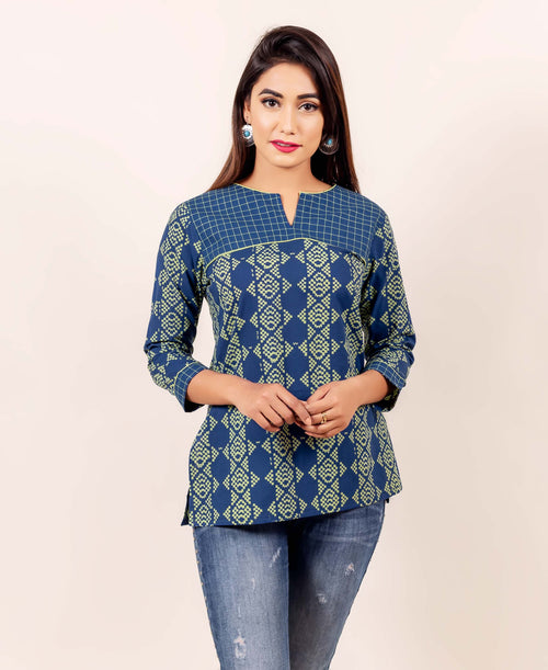 Indigo and Lime Hand Block Printed  Embroidered Straight Top