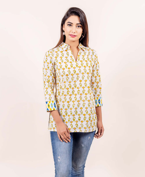 White and Yellow Hand Block Printed Straight Cotton Top