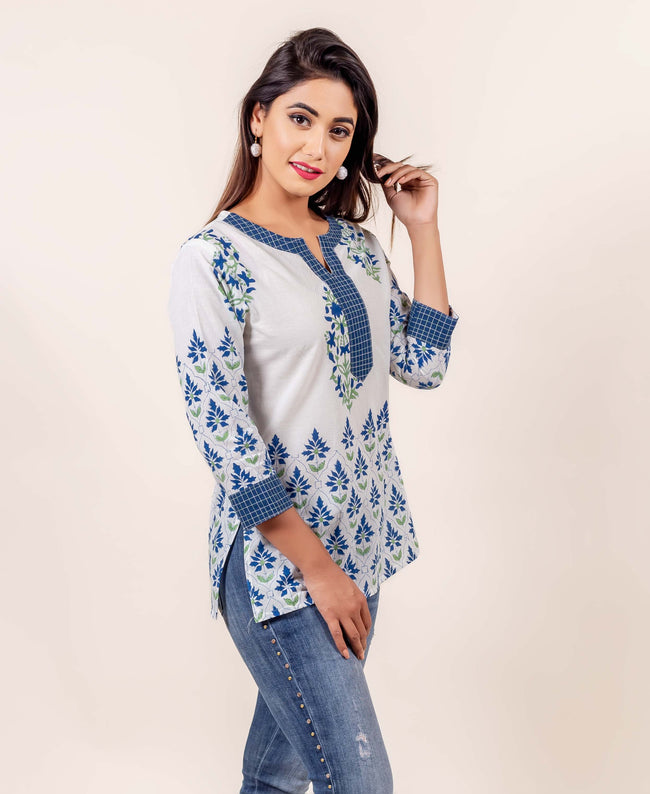 White and Blue Hand Block Printed Cotton Top