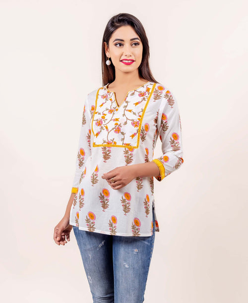 White and Yellow Hand Block Printed and Embroidered Cotton Top