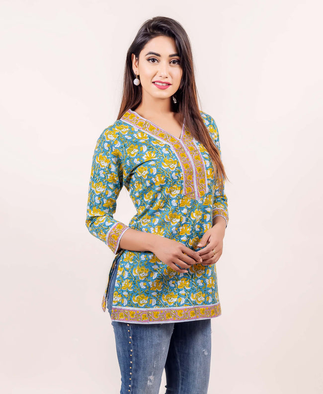 Teal and Yellow Hand Block Printed Cotton Top