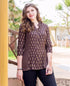 Brown Gold Printed Top with Kantha Work