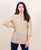 Linen Beige Split Mandarin Collar Top