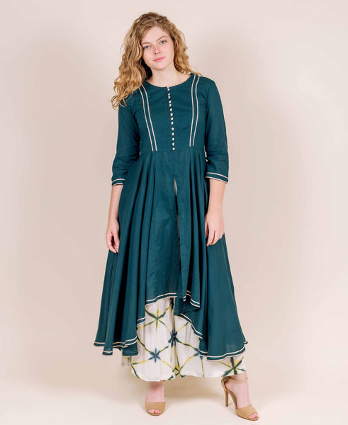 Round Neck Teal Blue Front Slit Kurta with Palazzos for women and girls online