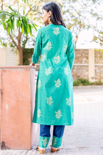 Teal Blue Round Neck Hand Block Printed Kurti Set for Women Online