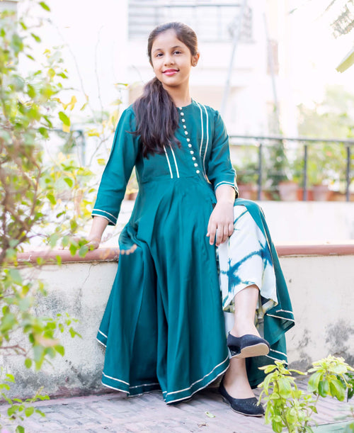 Teal Gota Detailed Front Slit Kurta with Palazzo for Baby Girl