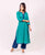 Teal and Indigo Straight Solid Trim Kurta with Palazzo