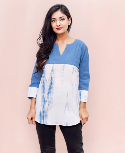 Tie-Dye Style Blue and White Cotton Ethnic Tops Online Shopping