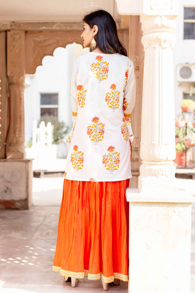 V Neck Indo Western Bell Sleeves Kurti with Skirt for Womens Online