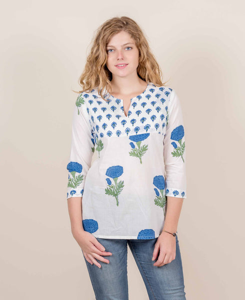 White And Blue Hand Block Printed Short Kurta Top
