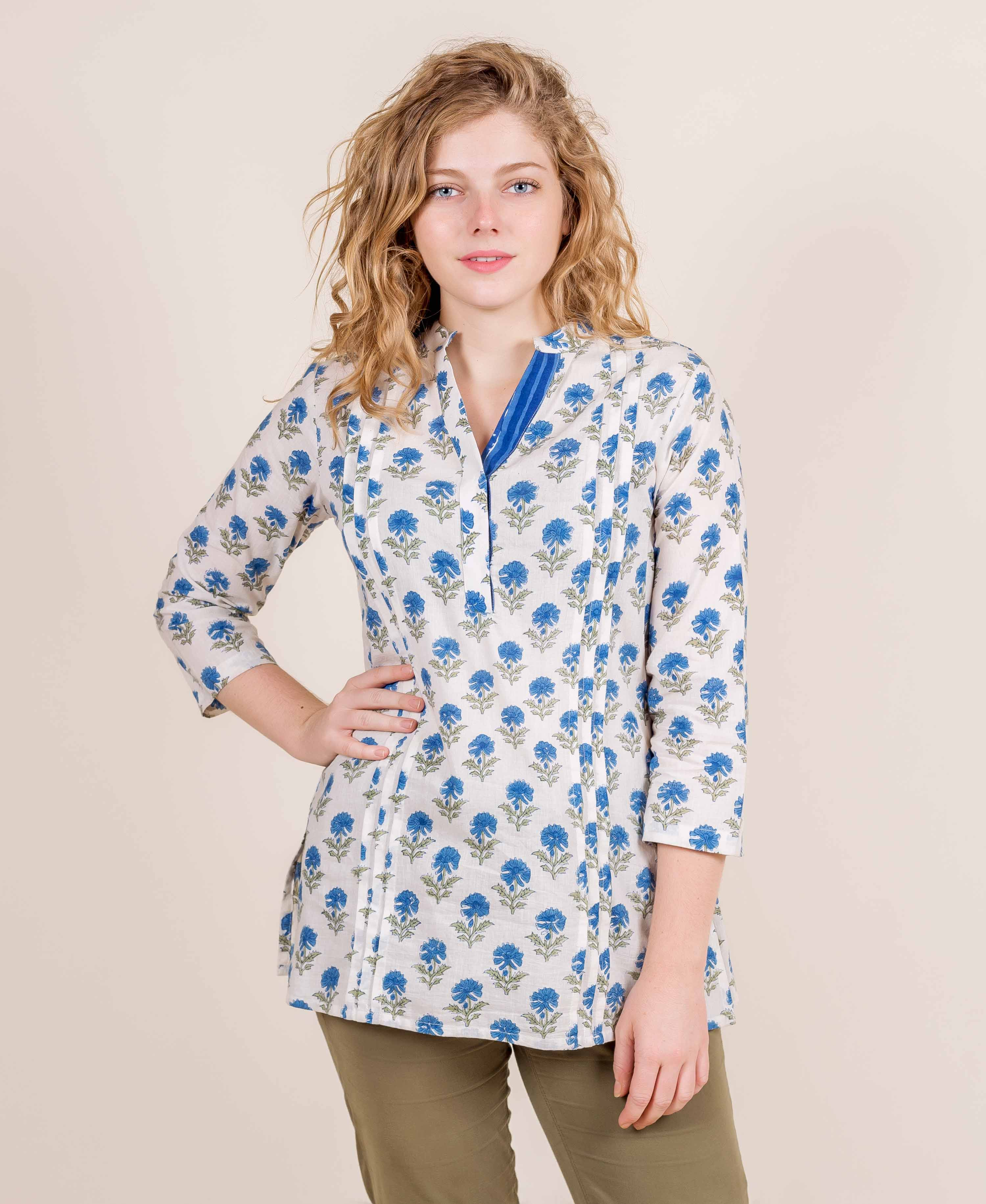 White And Blue Pleated Hand Block Printed Short Kurta Top