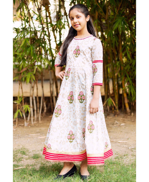 White Hand Block Printed Flared Baby Girl Floor Length Dress
