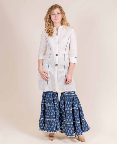 Cotton Up-Down Grey And White Suit Set With Blue Prints