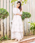 White Straight Kurta with Flared Skirt