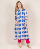 White and Blue HandBlock Printed Kurta