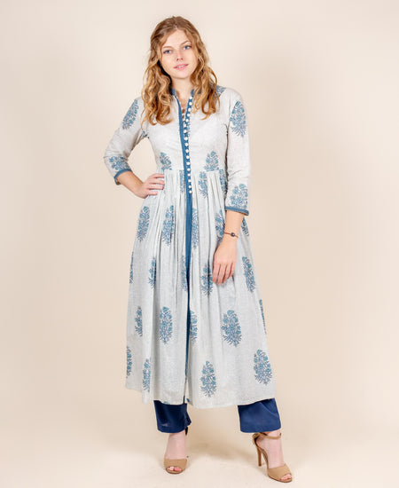 Peach Hand Block Printed Chiffon Indo Western Kurta with Pants