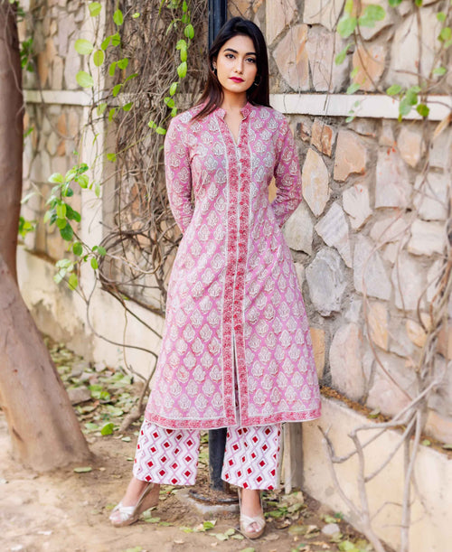 White and Pink Hand Block Printed A-Line Kurta with Palazzo