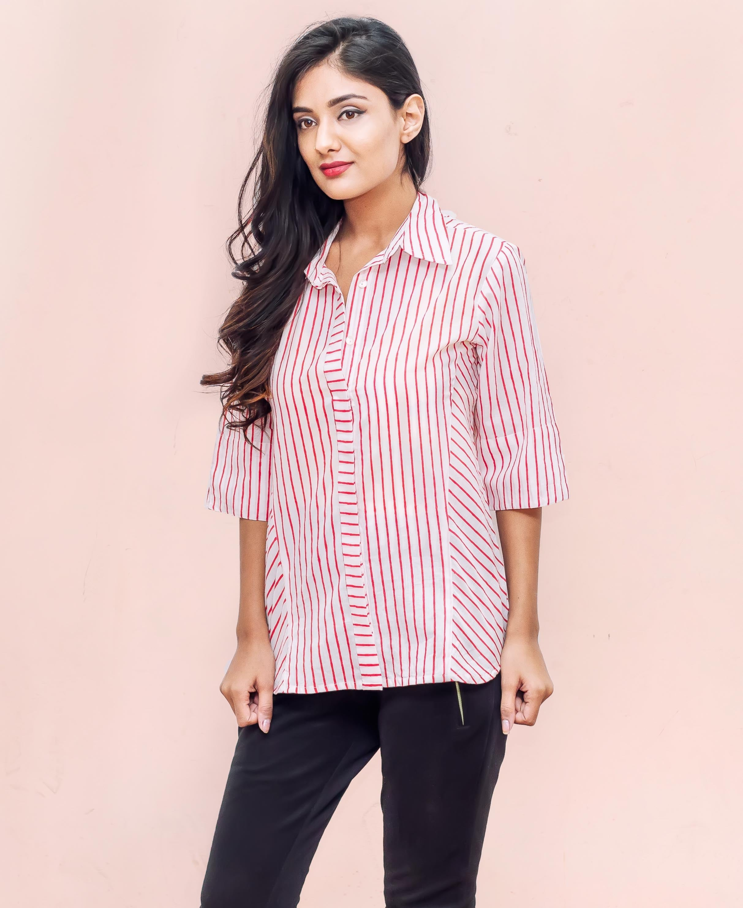White and Red Rayon Strips Top Button Down