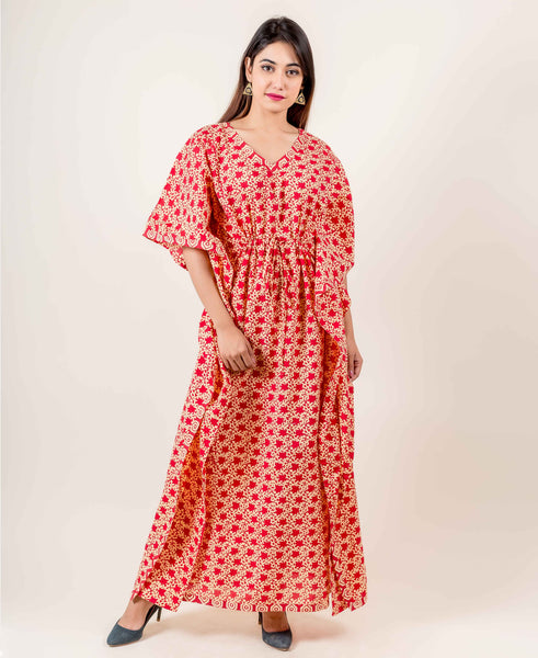 Red And Yellow Hand Block Printed Kaftan With Adjustable Strings