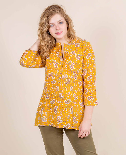 Yellow Hand Block Printed Kurti
