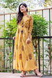 Yellow Rayon Hand Block Printed Designer Long Anarkali Dresses