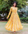 Yellow and Golden Rayon Long Anarkali Dress