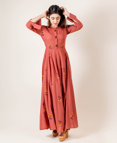 Round Neck Teal Blue Front Slit Kurta with Palazzo