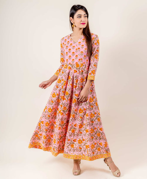 Angrakha Style Floral Hand Block Printed Indo Western Dress In Orange And Pink
