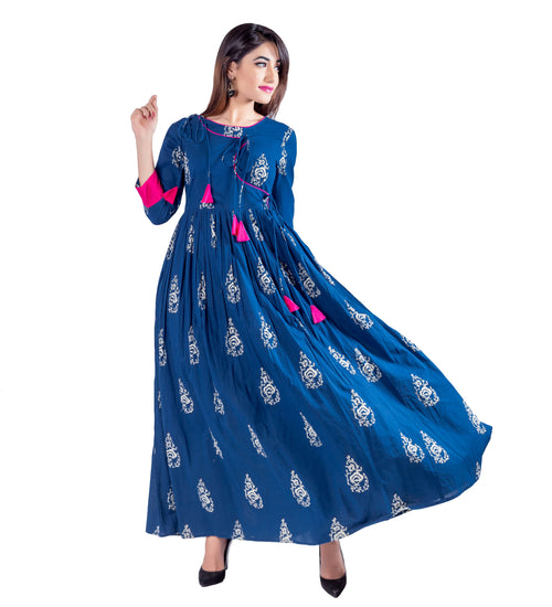 Angrakha Anarkali Fused Floor Length Indo Western  Dress