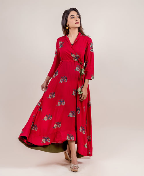 Gorgeous Tasseled Asymmetrical Angrakha Long Dress online shopping for women