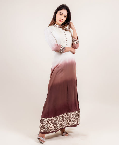 best tie dye Long Dress In Ivory And Brown color at best prices