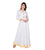 White / Yellow Indo Western Maxi Dress with Front Tassels