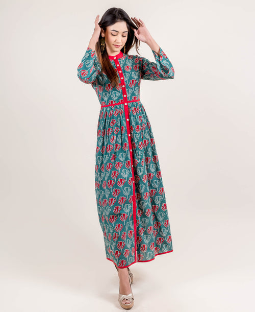 Mandarin Collar Gorgeous Teal Blue Long Dress for women online