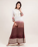 Impressively Stunning Long Ombre Dress In Ivory And Brown